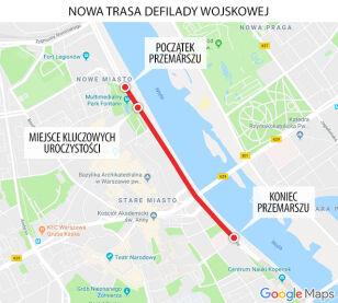 Nowa trasa defilady Google maps / tvn24.pl