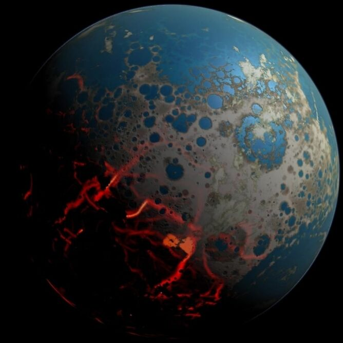 Artystyczna wizualizacja Ziemi po bombardowaniu przez asteroidy ponad 4 mld lat temu
