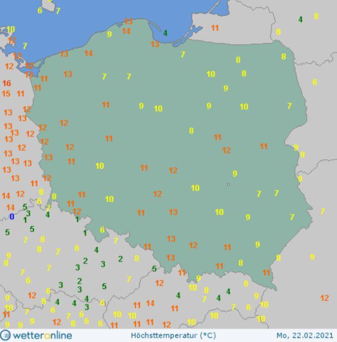 Temperatura maksymalna w Polsce w poniedziałek (wetteronline.de)